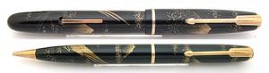 Platinum 富士に雉 研出蒔絵 Lever Filler & Pencil Set 1930s